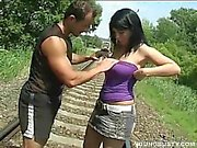 Train tracks fucking with a busty brunette teen