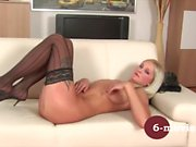 6-movies - Blonde girl enjoy herself at home -