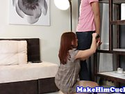 Redhead gf cuckolds her bf while restrained