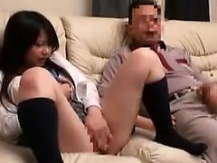 Kinky guy watches a beautiful Asian girl touching herself o