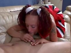 Adorable pigtails cheerleader fucked