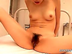 Asian hairy pussy filled with cum