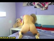 Teen blonde babe moist peach toy play and she loves it