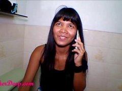 Heather Deep talks to boyfriend on phone while deepthroat Throatpie Creamt