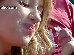 Beautiful young girl smoke dick in car