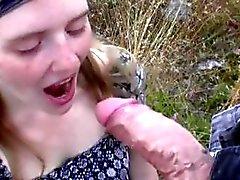 Amateur hippie girl try to sucks cock