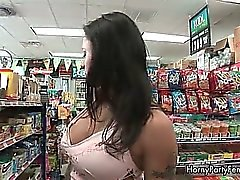 Horny brunette woman with big round ass part4