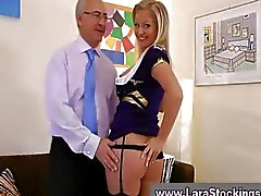 Blonde in stockings gives blowjob to old guy