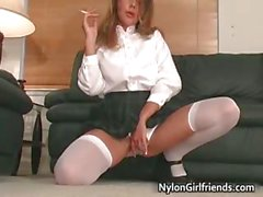 Sexy schoolgirl Penny Flame stripping part6