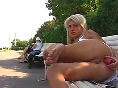 Kinky blonde suava outdoor toying