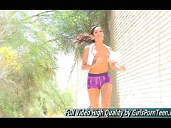 Michele Teen Upskirt in Public Super Sexy Leggy Girl