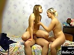 threesome for stepmom and young schoolgirl