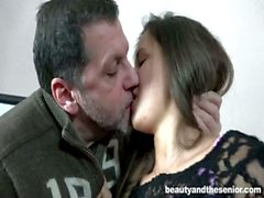 Fresh brunette teen Cindy gets fucked by old Phillipe