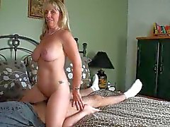 Horny mature amatuer 47 y.o. Carol takes on a 19 y.o. boy!