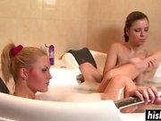 Nasty babes like to shower together