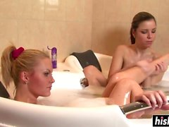 Nasty babes like to shower together