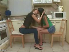Teen brunettes enjoying hot sex in the kitchen