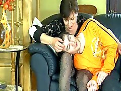 Mature milf in stockings fucks younger guy