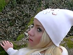 Amateur blonde Eurobabe banged and jizzed on in public