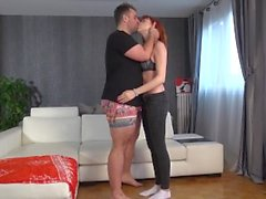 Huge facial demolishes cute redhead!