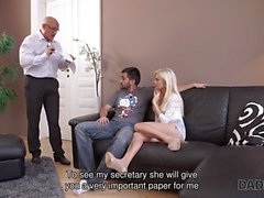 DADDY4K. Bald daddy stretches divine blonde Candee Licious on couch