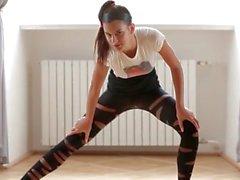 Wicked flexible ballerina girl bends her body