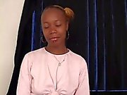 Cute thin black girl with hairy pussy and piercings gets pov pussy fucking