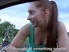 Amateur teen Jenny Dark fucked at the back of the car