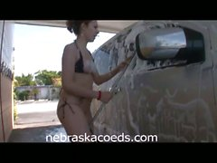 Hot coeds public nudity and pussy close ups at car wash