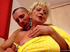 Lusty old gilf enjoys nasty sex with a young guy