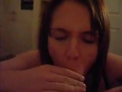 Brunette girl strips bare and hurts that huge penis