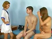Young couple in a weird medical examination