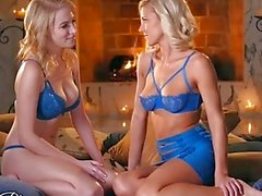 When Girls play - Two hot blonde lesbians by the fire