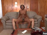 Black babe enjoys fucking on the couch