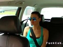 Blackmailed teen fucks in fake taxi