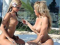 Luxury schoolmate blondes pussy eating