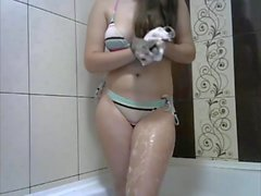 Fantastic Long Haired Shower and Striptease, Hair Washing