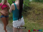 Girlfriends Euro babes flashing in public facesitting