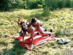 Horny lesbians having public sex outdoors