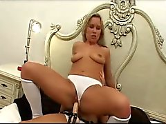 Girl in panties fucked by strapon cock
