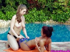 Teen lesbian beauties play with toys