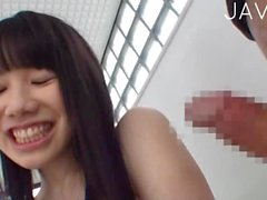 Asian girl has sexy lingerie for titsjob
