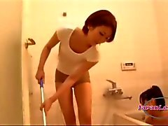 Asian Women Getting Her Hairy Pussy And Asshole Licked By Teen In The Bathroo