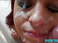 Teen face cummed