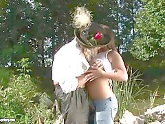 Chubby brunette teen fucking with old man outdoor