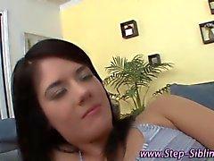 brunette teen step sisters get hot