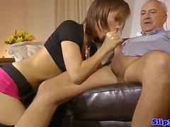 Heeled euro amateur cockriding older brit guy