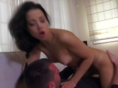 Taissia reads Dostoevskiy in Russian fucks cleaner and gets creampie