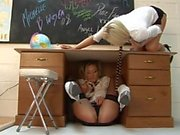 Naughty lesbian students get hot and dirty during their study session