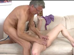 Old man fucks her shaved pussy missionary style